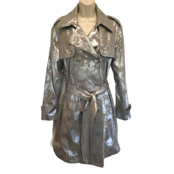 Mycra Pac Metallic Silver & Gray Trench Coat